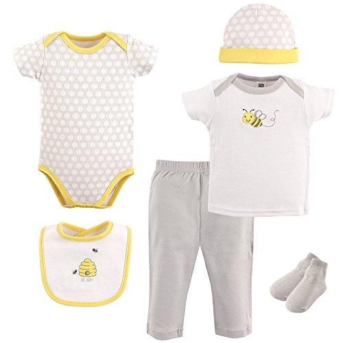 Hudson Baby Baby Layette Box Set 6 Piece, Bee, LT Gray, 0-3 Months