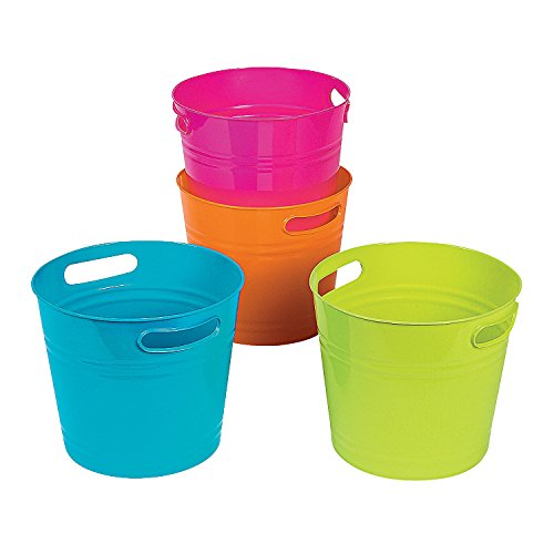 Fun Express - Bright Color Bucket Asst (4pc) - Party Supplies - Containers & Boxes - Plastic Containers - 4 Pieces
