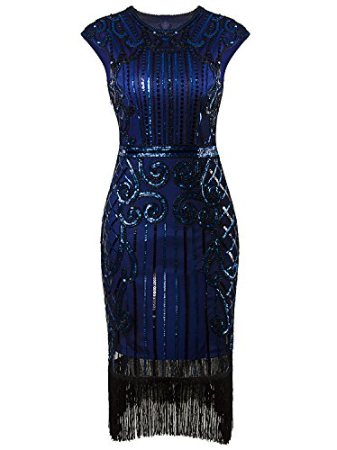 Vijiv 1920s Vintage Inspired Sequin Embellished Fringe Long Gatsby Flapper Dress,Large,Blue