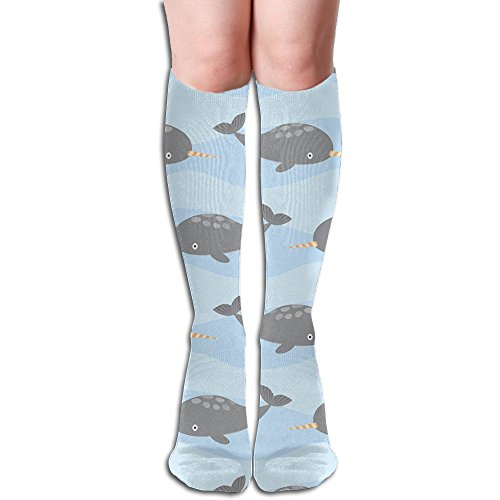 Cute Narwhal High Stockings Fashion Crew Socks (Stockimgs Christmas)