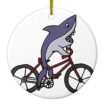 Amazon.com: Silly Shark Riding Bicycle Cartoon Xmas ...