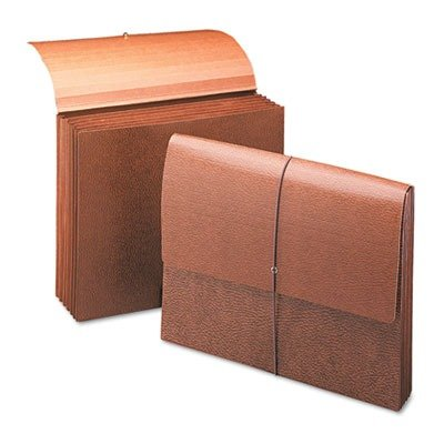 Smead 72373 Leather-Like Partition Wallets with Elastic Cord - Letter - 8.50quot; Width x 11quot; Length Sheet Size - 5.25quot; Expansion - 6 Pockets - Tyvek - Brown - 1 (Brown Spr Leather)