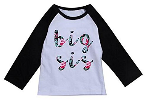 Younger star Newborn Baby Girls Romper Tops Shirt Sisters Outfits Clothes Set (Black, 3-4Years) (Three Sisters Kids Clothes)