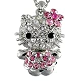 "Pink Crystals Pave Encrusted Puffed Kitty Flower Ribbon Dress Charm Pendant Chain Necklace 16+2"" Extender"