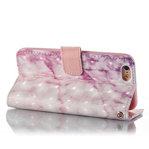 iPhone 6 6S Coque Marbre rose Portefeuille Fermoir Magnétique Supporter Flip Téléphone Protection Housse Case Étui Pour Apple iPhone 6 6S + Deux cadeau