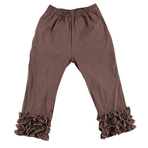 Wennikids Toddler Litle Girls Cotton Ruffle Leggings Small Brown -