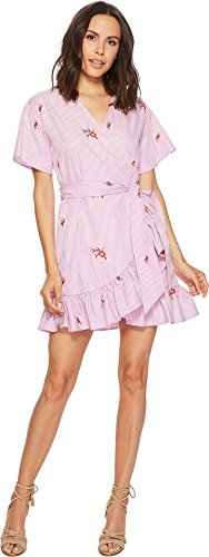 Romeo & Juliet Couture Women's Wrap Dress w/Embroidery Pink/White Medium (Romeo Dresses Juliet Couture)
