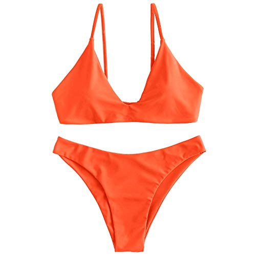 ZAFUL Women's Tie Back Padded High Cut Bralette Bikini Set Two Piece Swimsuit (Pumpkin Orange, M)
