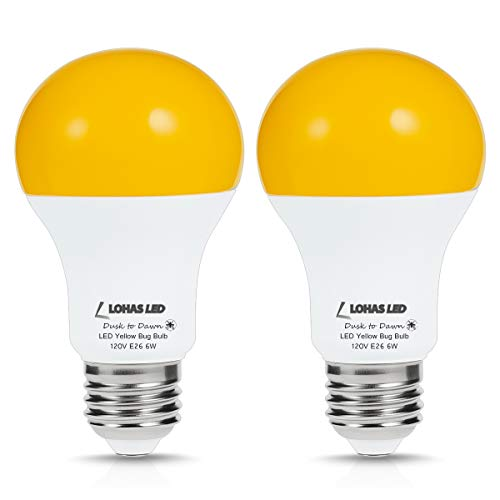 LOHAS Sensor Light LED Bulbs Dusk to Dawn, Amber Yellow Bug Light Bulb, Smart Sensor Auto ON/OFF, A19 40W Equivalent, 500 LM, 110V-130V, Indoor/Outdoor Automatic Security Porch Yard Lighting, 2Pack