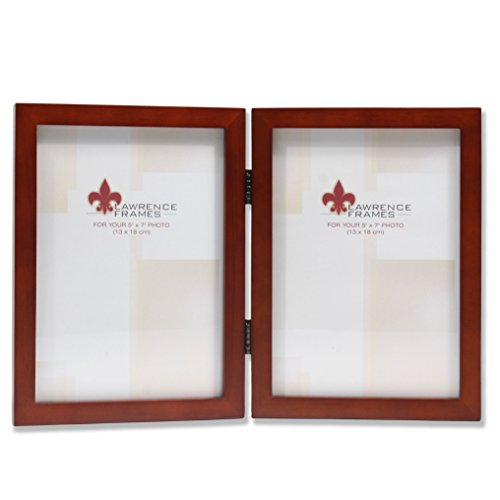 (Lawrence Frames Hinged Double Walnut Wood Picture Frame, Gallery Collection, 5 by)