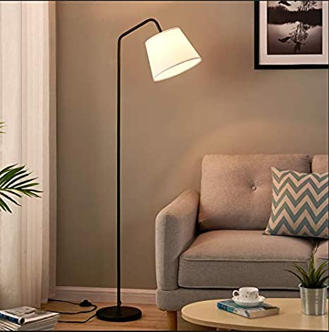 Amazon Com Arc Floor Lamp Led Floor Lamp With Hanging White Lamp Shade Modern Standing Lamp With Foot Switch E26 Lamp Base Corner Lamps Tall Pole Light For Office Bedroom Living Room Reading