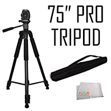 75-Inch 3-Way Pan Head Tripod w/ DUAL Bubble Level Indicators For Nikon D80, D90, D3000, D3100, D3200, D3300, D3400, D5000, D5100, D5200, D5300, D5500, D7000, D7100, D7200, D600, D610, D700, D750, D800, D800E, D810, D810A, COOLPIX L840, L830 Digital Cameras