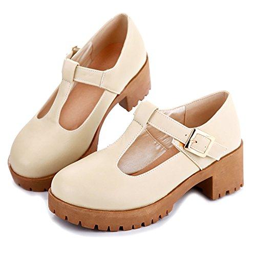 COOLCEPT Damen Mode Chunky Heel Pumps Beige