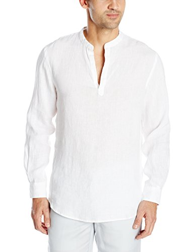 Linen Curved - Perry Ellis Men's Long Sleeve Solid Linen Popover Shirt, Bright White, Large
