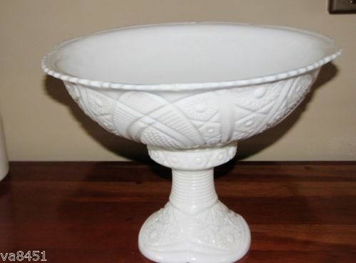 Vintage Mid Century Thacher Glass Company Mckee Division Milkglass Concord Pattern Punch Bowl and Stand (Glass Bowls Concord)