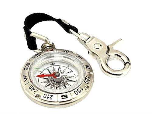 Yuchoi Solid Compass Multifunction Retro Whistle Explore Compass Outdoor Navigation Tools for Mountain Climbing(Silver) by Yuchoi
