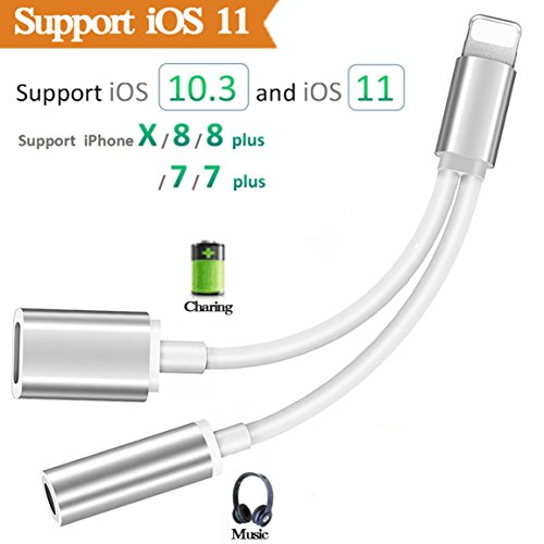 Lightning Jack Adapter Headphone for iPhone X 8/8Plus iPhone 7/7Plus Converter.2 in 1 Charging Lightning to 3.5mm Earphone Adapter Accessories Cable Splitter. Compatible iOS 10.3/11 or Later(Silver)