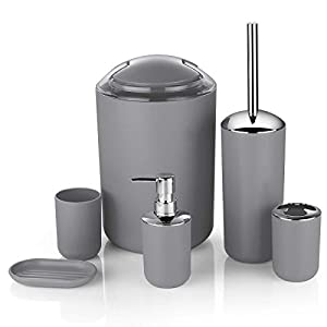 6pc Bathroom Accessories Set – Lotion Dispenser, Soap Dish, Holder, Tumbler and Bin, Dark Grey