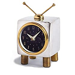 Retro Mid Century Modern TV Table Wall Clock | Desk Television Gold Silver Brass
