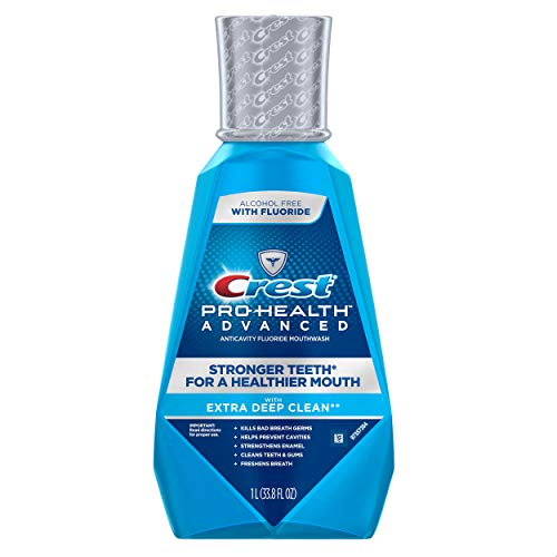 Crest Pro-Health Advanced Alcohol Free Extra Deep Clean Mouthwash, Fresh Mint, 1 L 3 Count