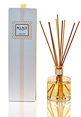 Prime Deal! Vanilla Bean Aromatherapy oil reed Diffuser Gift Set   Vanilla Bean Scented Oil & Reed Sticks   Notes of Vanilla Absolute, Sandalwood & Musk   Made in the USA