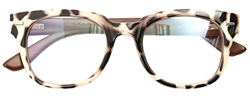 Real Bamboo Wood Temples Eyeglasses Frames Men Women Retro Spectacle Wooden Arm Foot Eyewear (BEIGE LEOPARD - Ladies Spectacles