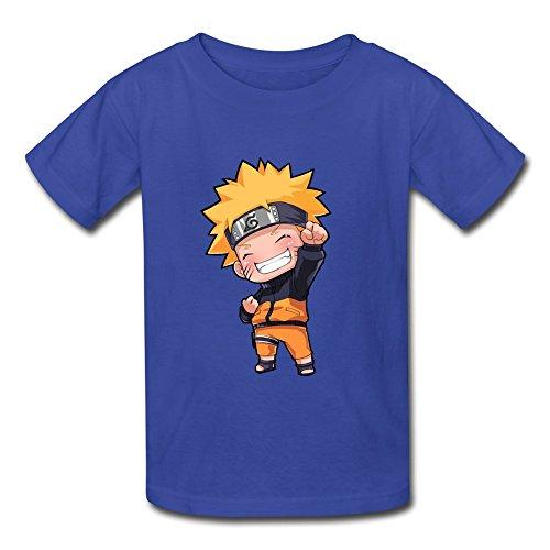 JeFF Kid's Boys' And Girls' Funny Kid Uzumaki Naruto O-neck Cotton Shirts For 6-16 Years Large RoyalBlue (US Size) (Cheap Naruto Shirts)