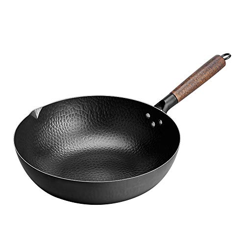 Authentic Hand Hammered Wok pan.Uncoated 12.5in flat bottom wok.Chinese iron pot Suitable for induction cooker, Electric , natural gas