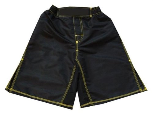 MMA Board Shorts Black with Yellow Stitching L NO LOGO