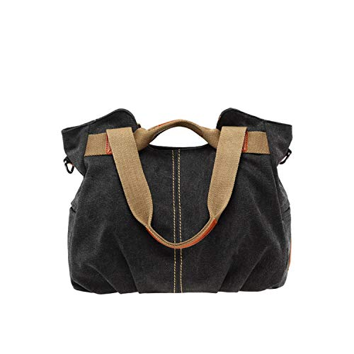 (Large Capacity Casual Vintage Hobo Canvas Handbags Handbags Women Bags,Black)