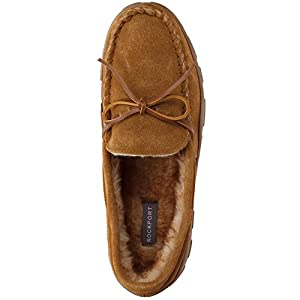 Rockport Memory Foam Plush Lining Suede Slip On Moccasin Indoor/Outdoor Men's Slippers (Size 12 Slipper, Cinnamon Moccasin)