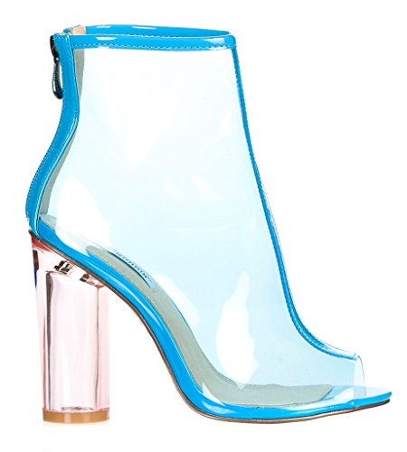 e7b2a6b1d5a CAPE ROBBIN FF66 Women s Peep Toe Block Clear Lucite Heel Ankle ...