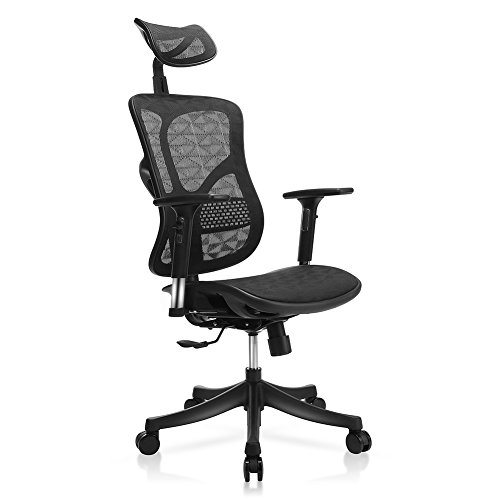 TomCare Office Chair Ergonomic Mesh Office Chair Modern with Rotation Headrest, Adjustable Backrest, Armrest and Seat Height Swivel Computer Chairs Desk Chairs Modern for Home Office Conference Room (Adjustable Mesh Backrest)