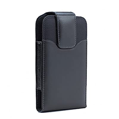 XXL SIZE BlackBerry Classic Q20 Q20 Z10 Surfboard Premium Vertical Leather Belt Clip Swivel Pouch Case Cover Holster (Fits with Otterbox Commuter/Defender or Thick Armor Hybrid Case On Cover) by BNY-WIRELESS