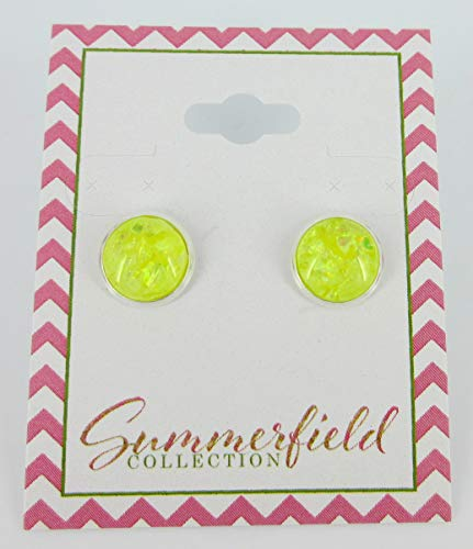 Silver-tone Yellow and Opalescent Leaf Resin Stud Earrings 10mm