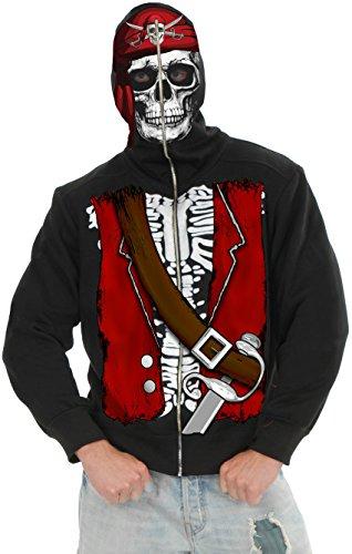 Child's Boys X-Small 26-27 Evil Dead Pirate Skull Costume Hoodie Mask Sweatshirt (Skeleton Hoodie Teen Costume)