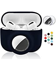 2 in 1 Silicone Protective Skin Cover Compatible with AirPods Pro and AirTag, Soft Comprehensive Protective Case with 2 PCS TPU Screen Protector, Anti-Scratch Anti-Fall Anti-Lost(NavyBlue)