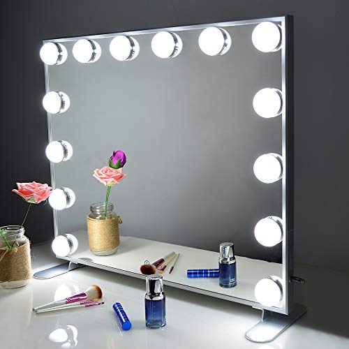 Vanity Mirror with Lights,Hollywood Lighted Mirror with Dimmer bulbs,Tabletop or Wall Mounted Vanity Makeup Mirror Smart Touch Control (Silver) BEAUTME