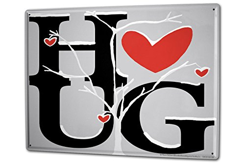 - Tin Sign XXL Sayings Embracing red heart