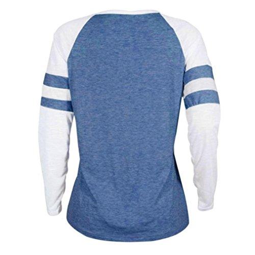 ZIYOU Freizeit Pullover Damen Frauen Langarmshirt Casual Rundhals Sport Strickjacke Tops Cosy Lange Ärmel T-shirts Oberteile Streetwear Blau