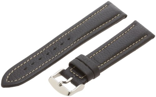 Hadley-Roma Men's MSM886RA-200 20-mm Black Genuine Shrunken Leather Watch Strap (Shrunken Leather)