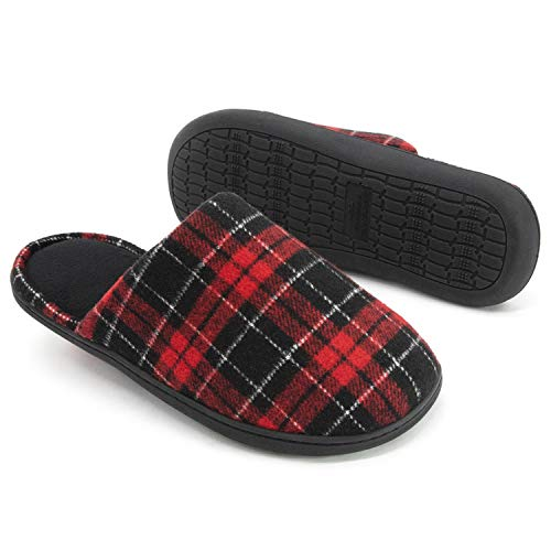 (RockDove Men's Holiday Scuff with Memory Foam, Small, US 7-8 M, Crimson)