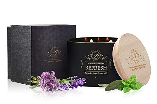 (Aubert & Amandine Refresh Lavender Sage Peppermint Luxury Scented 3 Wick Soy Candle for Stress Relief & Relaxation High Intensity Aromatherapy)