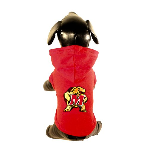 NCAA Maryland Terrapins Collegiate Cotton Lycra Hooded Dog Shirt (Team Color, XX-Large) Red