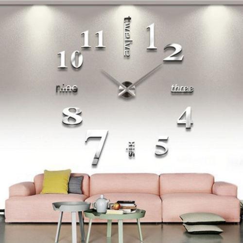 Asvert 3D DIY Large Wall Clock With Digital Number Personalised Art Stickers Frameless Modern Decorative