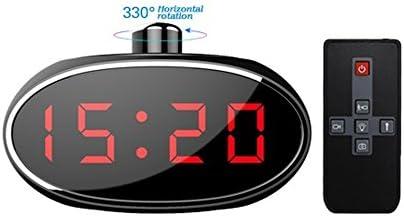 Indoor Spy Cam – Cámara espía en reloj de mesa, despertador con 330 ° Manuel lente giratoria, con Detector de movimiento, Hidden Cam