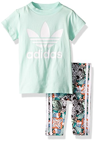 adidas Originals Baby Infant Zooanimal Print Tee Set, Clear Mint/White, ()