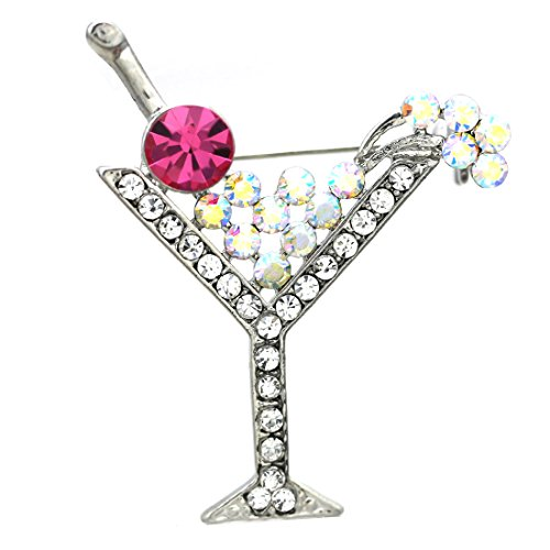 Glass Rhinestone Pin (Party Cocktail Martini Glass Light Pink Brooch Pin Clear Rhinestones)