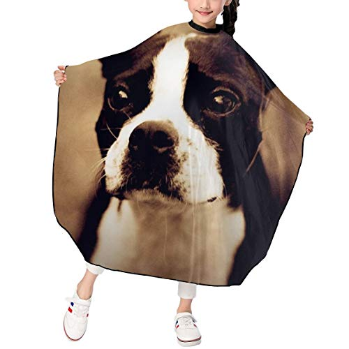 Hsanfwnzl Kids Haircut Barber Cape My First Pets Boston Terrier Apron Hairdressing Gown Cape Hair Salon Haircut Styling Smock Cover ()