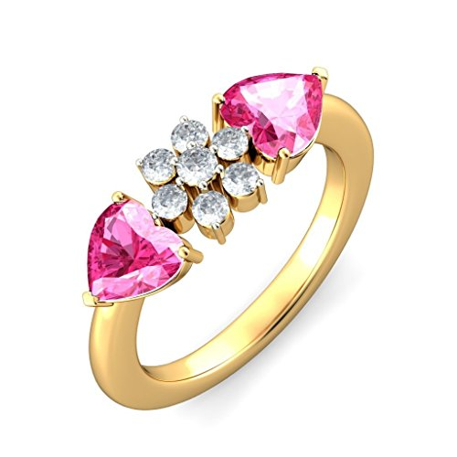 Or jaune 18 K, 0,23 carat Diamant Blanc (IJ | SI) Tourmaline Rose et diamant Bague